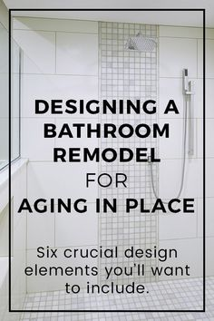 If you're planning to live in your home for as long as possible, you should consider your bathroom for aging in place. This post explains the crucial design elements you need to consider so you can maximize your time in your home as you get older. Ada Bathroom, Handicap Bathroom, Bathroom Renos, Bathroom Layout, Bathroom Flooring, Bathroom Renovations, Bathroom Ideas, Small Bathroom Plans, Bathroom Makeovers