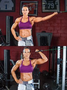 "IFBB physique competitor (and manager of Dwayne ""The Rock"" Johnson) Dany Garcia is no stranger to tough workouts. Her seven-move upper-body routine strengthens and sculpts the biceps and triceps from multiple angles for attention-getting results. Bicep And Tricep Workout, Biceps And Triceps, Bicep Cable Workout, Bicep Workout Women, Fitness Motivation, Fit Girl Motivation, Fitness Plan, Workout Fitness, Lifting Motivation"
