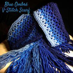 Ombré V-stitch Scarf - free crochet pattern by Queen Babs Crochet Scarves, Crochet Shawl, Crochet Stitches, Crochet Patterns, Scarf Patterns, Crochet Ideas, Crochet Blankets, Crochet Heart Blanket, Granny Square Crochet Pattern