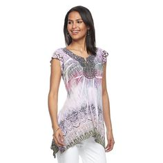 Women's World Unity Embellished Sublimation Top, Size: Medium, Lt Purple