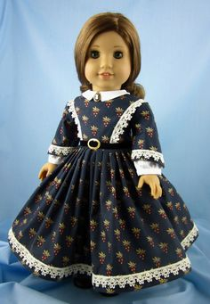1860s Civil War Era Dress - fitsAmerican Girl Doll 18 Inch - Grape Clusters on Navy  - Doll Clothing