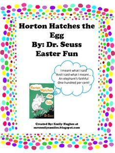 Enjoy a creative thinking, rhyming and cooking activity to go along with Dr. Seuss' Horton Hatches the Egg. These would be great to do at Easter an...