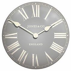 grey tin clock, jones, sainsburys