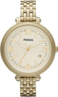 Fossil Women's ES3192 Heather Three Hand Stainless Steel Gold-Tone Watch