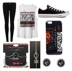 """""""Twenty One Pilots"""" by doodlebob3 ❤ liked on Polyvore featuring True Religion and Converse"""