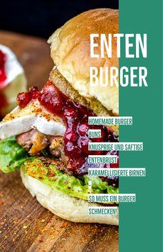 Entenburger! Der ist mehr aus Zufall entstanden, aber am Ende ein Hammer Kombination! Knusprige Entenbrust, karamellisierte Birne, Preiselbeeren und Camembert. Unfassbar lecker!  #Foodblogger #Grillblogger #Ente #Burger #Entenburger #Rezept