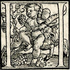 Initial letters from a Greek majuscule alphabet with a boy riding a goat to left as he holds a vine and grapes in his right hand. Woodcut. Attributed to Hans Holbein the Younger, circa 1515-1540