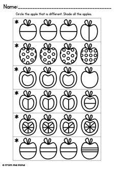 Visual Discrimination Game Cards - Apple Line Apple Activities, Preschool Learning Activities, Preschool Worksheets, Teaching Kids, Kids Learning, Preschool Painting, Preschool Schedule, Fall Preschool, Coding For Kids