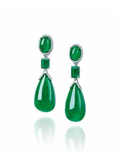 An exceptional pair of emerald and diamond ear pendants, by Etcetera