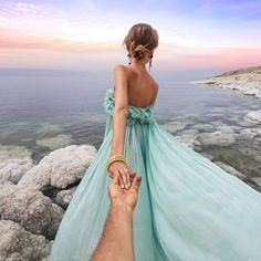 """Murad Osmann: the Dead Sea with 💮 """"Life begins at the end of your comfort zone"""". Hand Photography, Couple Photography, Amazing Photography, Photography Magazine, Editorial Photography, Strapless Dress Formal, Prom Dresses, Formal Dresses, Murad Osmann"""