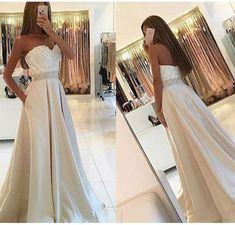 Elegant Strapless Long Prom Dresses Evening Dresses Waist with Beaded