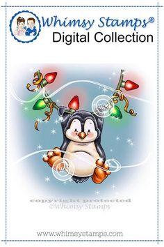 Penguin Light Me Up - Digital Stamp
