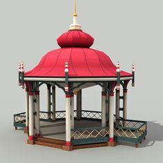 model of gazebo - Indian Temple Architecture, Brick Architecture, Religious Architecture, Interior Architecture, Indian Bedroom Decor, Ganpati Decoration At Home, Temple Design For Home, Mandir Design, Ganapati Decoration