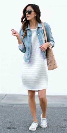 32c1bb791cee8 Denim Jacket with Striped Dress. Modest summer outfits. Casual dress  outfits. Moda Modesta
