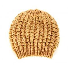 Large Lurex Knit Beanie  - Pecan