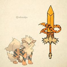 Arcanine sword with fur