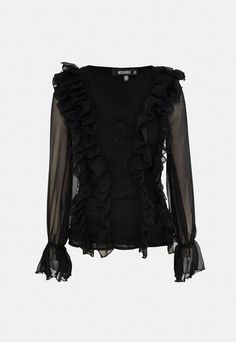 a lace up chiffon blouse featuring frill front and long sheer sleeves.      regular fit    mid length - sits at the hips    100% polyester