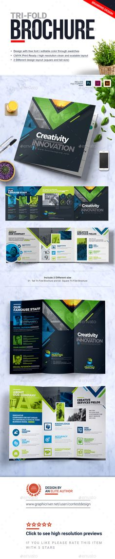 Tri-Fold Brochure | Square and Tall Brochure Design Template PSD, Vector EPS, InDesign INDD