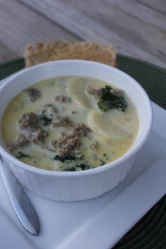 Zuppa Toscana Sausage & Potato Soup--creamy, a little spicy, hearty & totally amazing and perfect for this time of year.  Deals to Meals