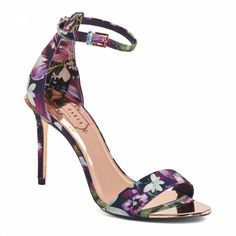 eba64b0489b1 Purple Floral Print Charv Ankle Strap Sandals - BrandAlley Hot Shoes