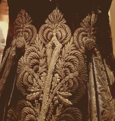 Golden embroidery on the  jacket back of 18 th century