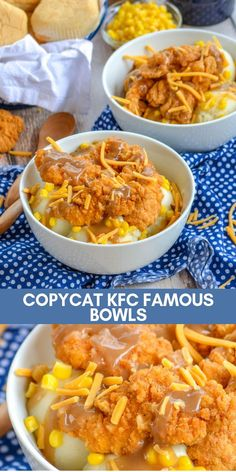A homemade version of Kentucky Fried Chicken's Famous Bowls, these copycat KFC Famous Bowls are a winner. Crispy chicken and sweet corn sits on top of creamy mashed potatoes. It's a bowl of comfort fo Kfc Bowls Recipe, Chicken Bowl Recipe Kfc, Kfc Gravy Recipe, Kfc Famous Bowl, Famous Fish, Healthy Recipes, Healthy Food, Thai Recipes, Best Food Recipes