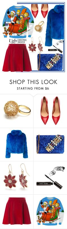 """""""Ugly Christmas Sweater"""" by maranella ❤ liked on Polyvore featuring Agora Jewellery, H&M, n:PHILANTHROPY, GEDEBE, Kim Rogers, Bobbi Brown Cosmetics and Love Moschino"""
