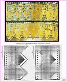 Filet Crochet Charts, Crochet Motifs, Crochet Borders, Crochet Flower Patterns, Crochet Diagram, Thread Crochet, Crochet Doilies, Crochet Flowers, Crochet Lace