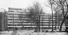 The Narkomfin Building by architect Ignaty Milinis was built in Moscow, Russia in Le Corbusier, Multi Story Building, How To Plan, Outdoor, Moscow, Russia, Photos, Buildings, Architecture