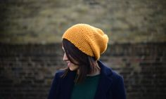 Teen Slouchy Hat, Womens Slouch Hat, Hand Knit Hat, Lightweight Chunky Slouchy Beanie, Winter Accesoriess, Yellow Gold by zukas on Etsy Slouchy Beanie, Beanie Hats, Hand Knitting, Knits, Knitted Hats, Winter Hats, Teen, Unisex, Wool