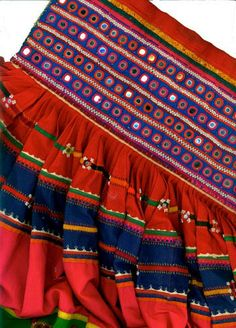 Crop of Banjara skirt, cotton with appliqué, embroidery and mirror details, India,  20th C. Photo (c) Fran Seigel, original textile from Textile Gems collections