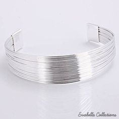 Simplicity Silver Cuff Italian Design Bracelets design by Evabella Collections    #Jewelry