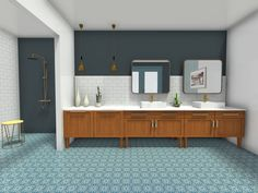 This mid-century styled bathroom is so well put together 🤩 Eclectic Bathroom, Bathroom Styling, Mid Century Modern Bathroom, Bathroom Images, Mid Century Style, Midcentury Modern, Design, Home Decor, Washroom