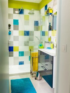 Children's Bathroom Unique Tile Children's Bathroom House With Bathroom . Childrens Bathroom, Bathroom Kids, Bathroom Renos, Bathroom Colors, Bathroom Interior, Kids Bathroom Organization, Teen Bathrooms, Patchwork Tiles, Unique Tile