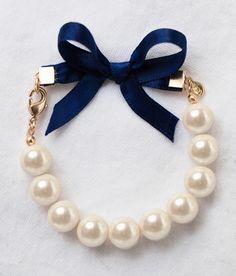 Classy Girls Wear Pearls Bracelet with Navy Ribbon Bow by Kiel James Patrick