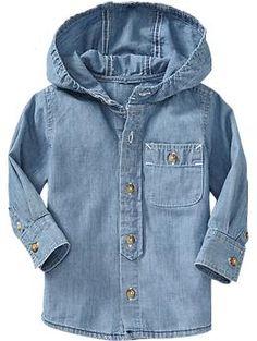 Hooded Chambray Shirt