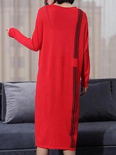 Knitted O-Neck Long Sleeve High Waist Midi Dress