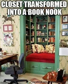 Closet transformation! Bookshelves and reading nook! I want one.