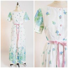 Vintage 50s Dress Full Length Nylon Chiffon by SimplyVintageCo