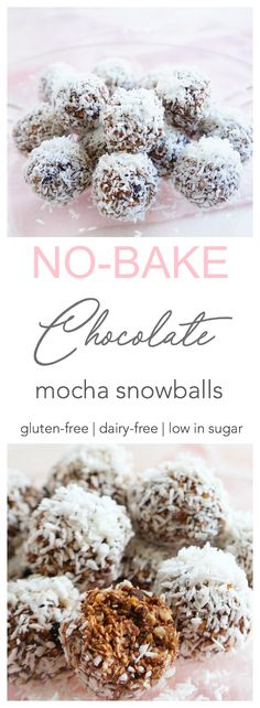 These No-Bake Chocolate Mocha Snowballs make the perfect healthy treat. With their rich and indulgent taste, no one will ever guess that they're a healthier option! Gluten-free, dairy-free & low in sugar | Haute & Healthy Living