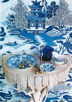 "Rustic wood wall shelf /Chinoiserie - Design - ""Nanjing"" Toile Wallpaper - by Schumacher, House and Garden. A shot featuring pieces from the now defunct shop of Gardner/Denton, NYC. Toile Wallpaper, Chinoiserie Wallpaper, Chinoiserie Chic, Blue And White China, Love Blue, Willow Pattern, Blue Accents, White Decor, Wall Canvas"