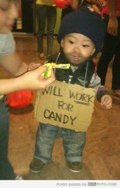 baby celebrity halloween costume | Halloween costume - Funny baby wearing homeless guy Halloween costume ...