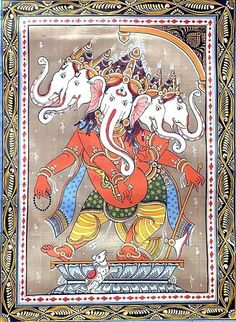 Saraswati Painting, Ganesha Painting, Ganesha Art, Lord Ganesha, Shri Ganesh, Mysore Painting, Kalamkari Painting, Madhubani Painting, Indian Traditional Paintings