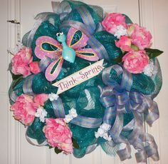 Think Spring Deco Mesh Wreath. $100.00, via Etsy.
