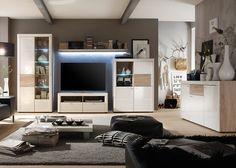 Wohnwand Pesaro Sonoma Eiche mit Weiß HG 20646. Buy now at https://www.moebel-wohnbar.de/wohnwand-pesaro-sonoma-eiche-mit-weiss-hg-20646.html