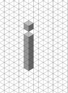 Letter i - 3D shadow test isometric grid. The letter i could be interpreted from not just the angles of the four flat faces but any angle throughout the 360 surrounding space. In reality the dot could be made to float by using a glass cube or acetate elements.