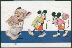 "DISNEY. Mikke, Minni og hunden Bonzo på tyskprodusert kort ""Mit Genehmigung der Lizenzinhaberin W. Hagelberg A.G."" Postgått i Norge 1932"
