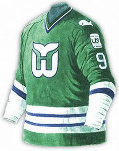 3caeb7ca596 1981 / 1982 Hartford Whalers green away jersey with anniversary patch on  sleeve