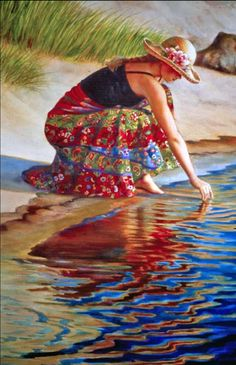 Por amor al arte: Vonnie Whitworth Colorful Drawings, Art Drawings, Double Exposition, Ocean Art, Beach Art, Portrait Art, Figure Painting, Female Art, Lady In Red