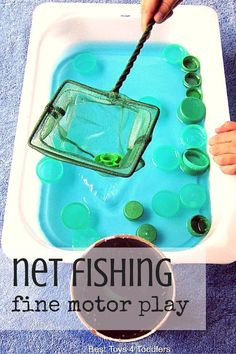 Net Fishing Fine Motor Play - Fishing Tank - Ideas of Fishing Tank - Best Toys 4 Toddlers Super simple net fishing activity for toddlers and older kids with items from recycle bin and everyone's favorite: water! Great for fine motor play and fun! Motor Skills Activities, Infant Activities, Preschool Activities, Family Activities, Indoor Activities, Summer Activities, Recycling Activities For Kids, Water Play Activities, Toddler Gross Motor Activities